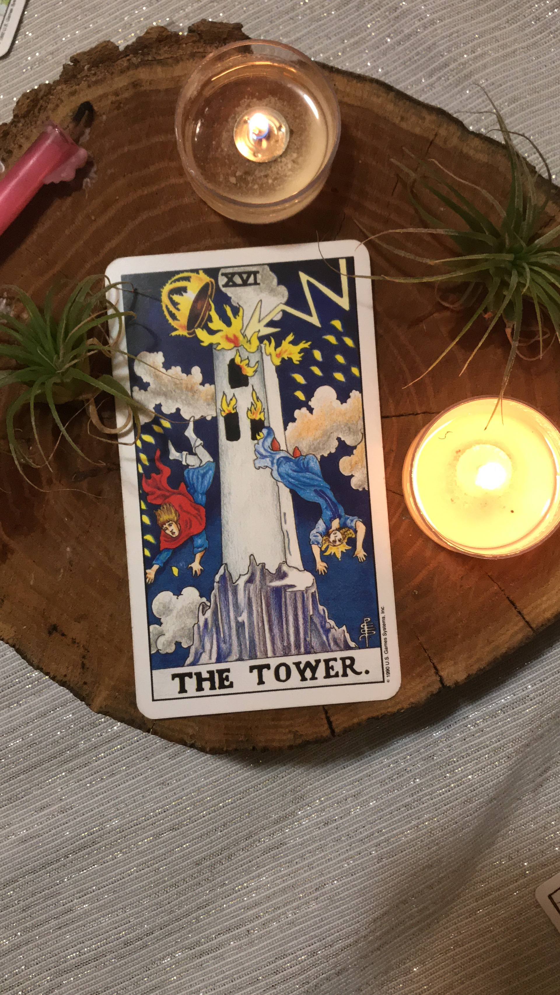 Crown Chakra from The Little Sage Oracle Deck and The Tower from Rider Waite Smith