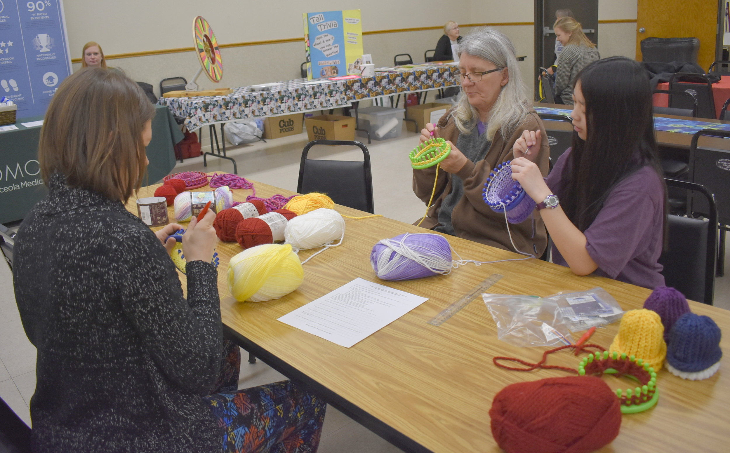 At the One Stop Donation Drop, attendees could knit hat for babies born at Fairview Medical Center in Wyoming (MN); and - at the table behind that - make fleece-tied hats for children undergoing chemotherapy at Children's Hospital in Minneapolis. Representatives from Osceola Medical Center were on hand to share information about diabetes prevention; and volunteers from Northwoods Humane Society had games and prizes, accepted donations, and brought two dogs available for adoption. One dog was adopted that day!
