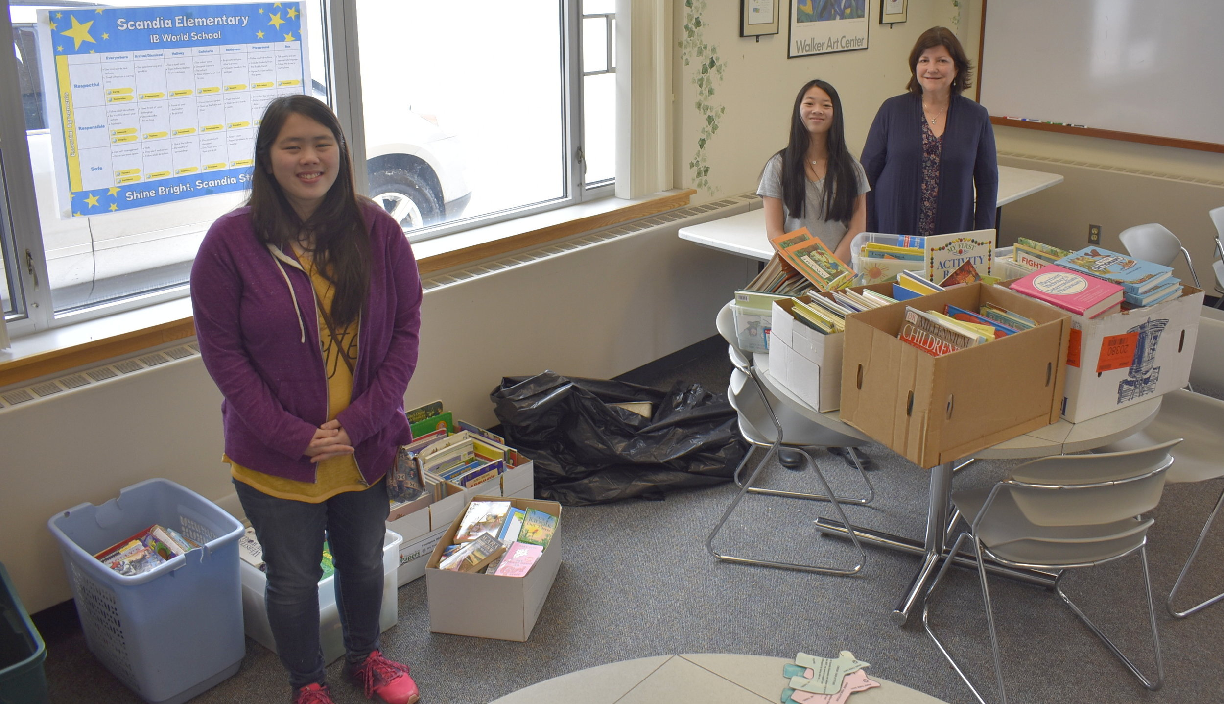 Teachers and staff from Scandia Elementary School donated a car load of children's books and teaching resources to create a library in Malawi, Africa through the African Library Project. Our goal was to collect 1,000 books and raise $500. After the One Stop Donation Drop, we collected 902 books. There were two more collection times happening during April to help reach the 1,000-book goal.  On May 16, 2018, we packed 1,012 books and shipped them to Africa to create the first-ever library for 465 orphans and vulnerable children!