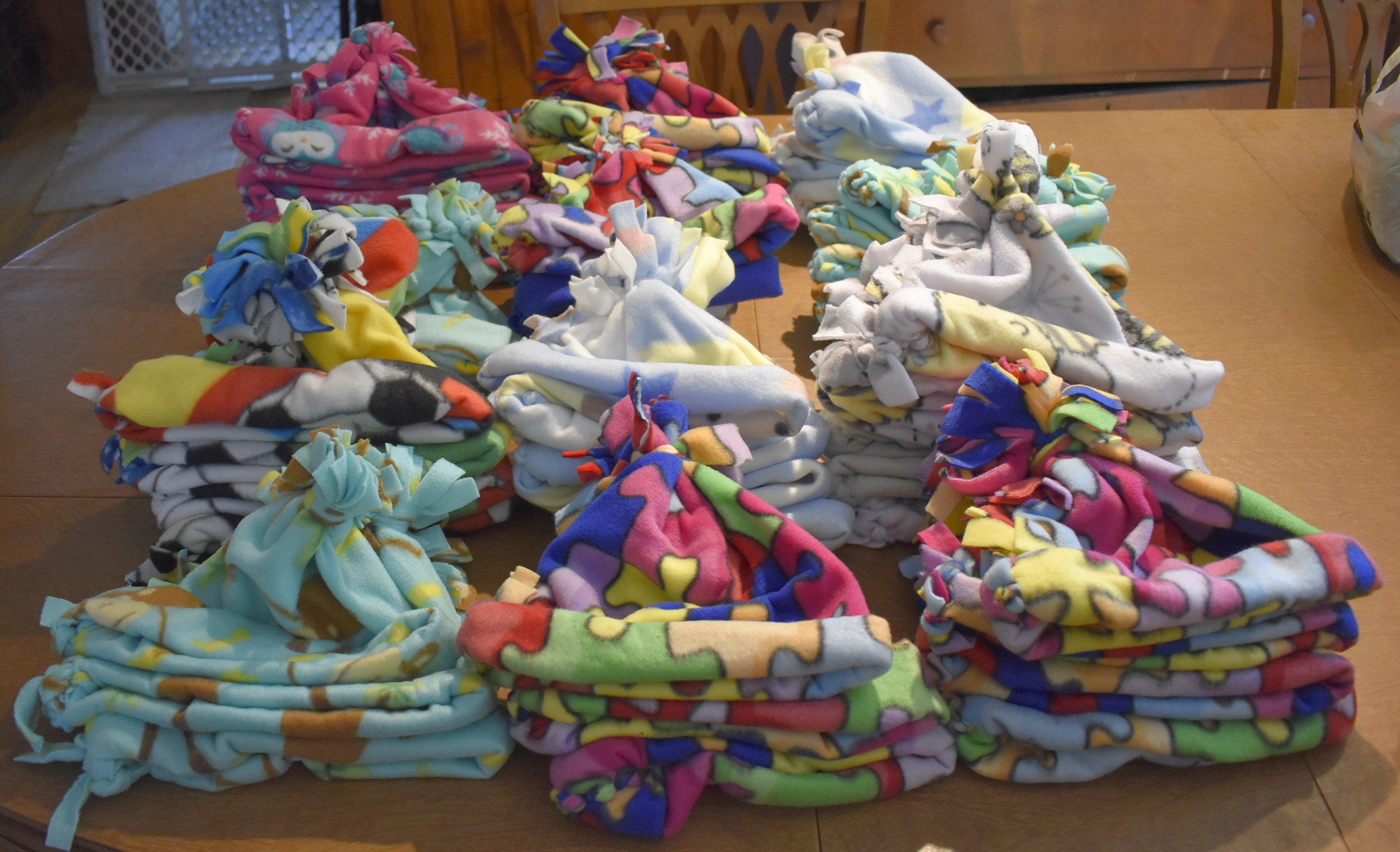 48 fleece hats and 2 fleece scarves for pediatric cancer patients at Children's Hospital in Minneapolis.
