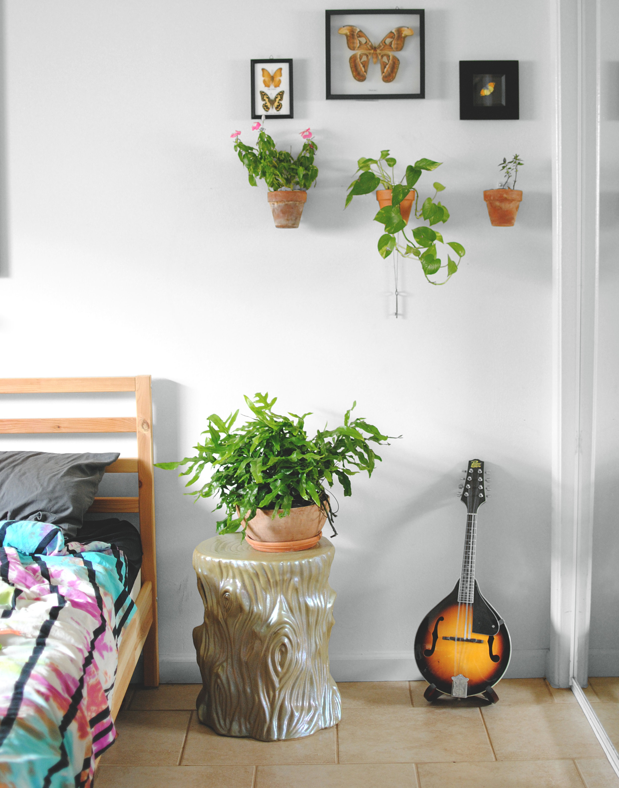 I'll miss having a giant plant on my bedside (the new space  might not  fit this tree stump nightstand).