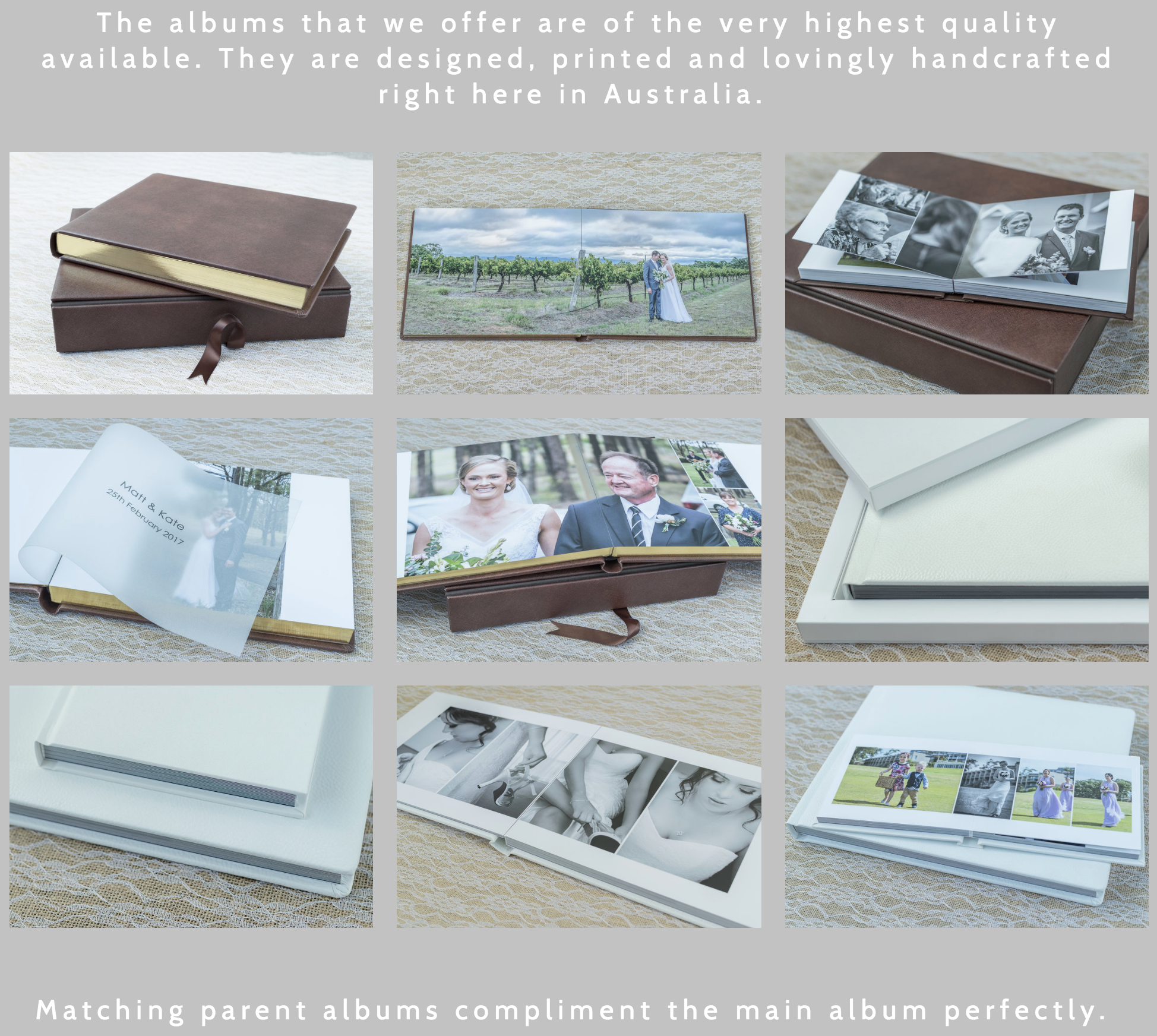 Here are the beautiful 'Superior' & 'Deluxe' wedding album examples included with two of our packages.