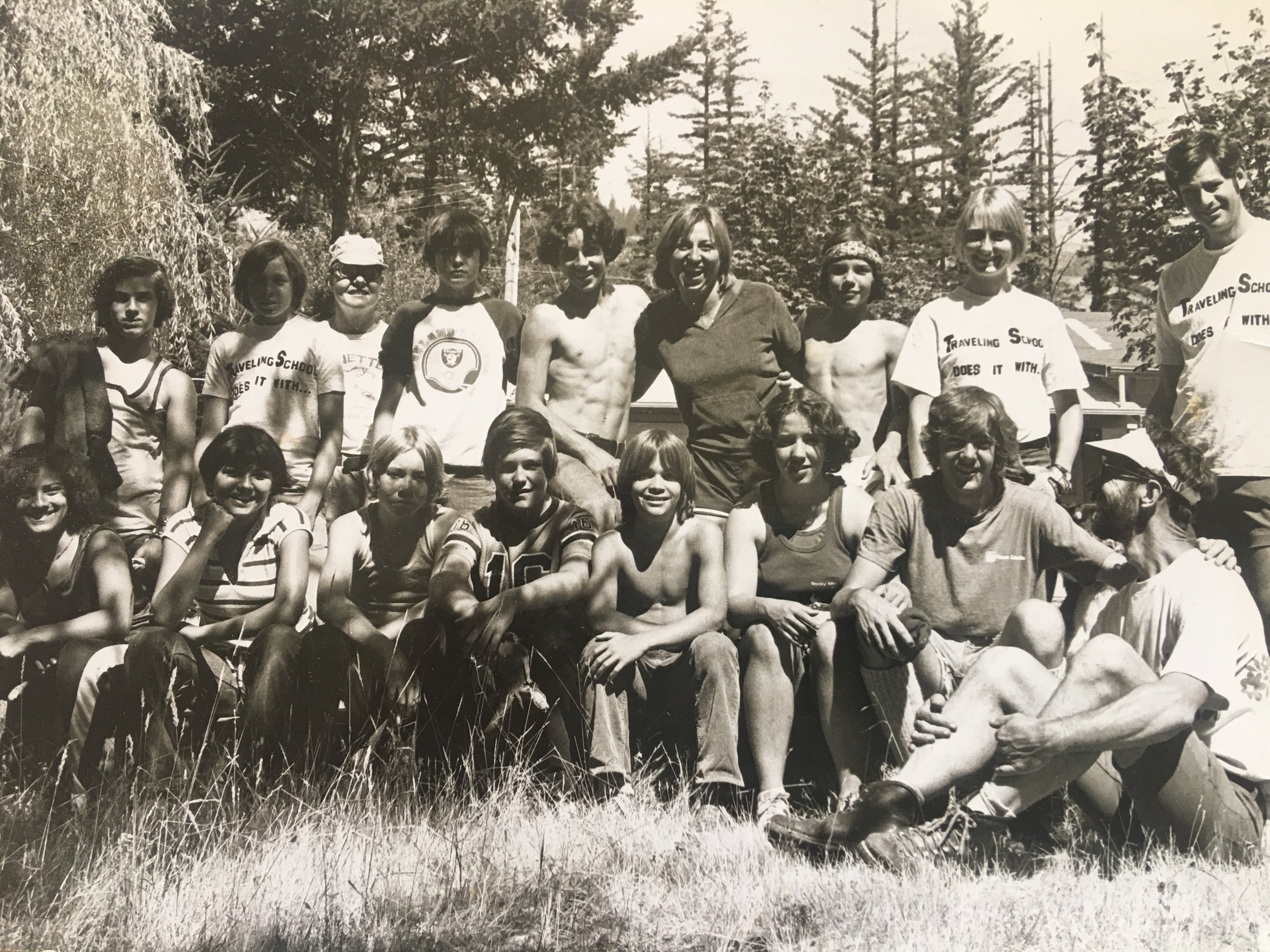 Three boys in this photo later reported child sexual abuse by Myers/Jackson who is standing at far right.  Traveling School Summer Bicycle Tour 1978