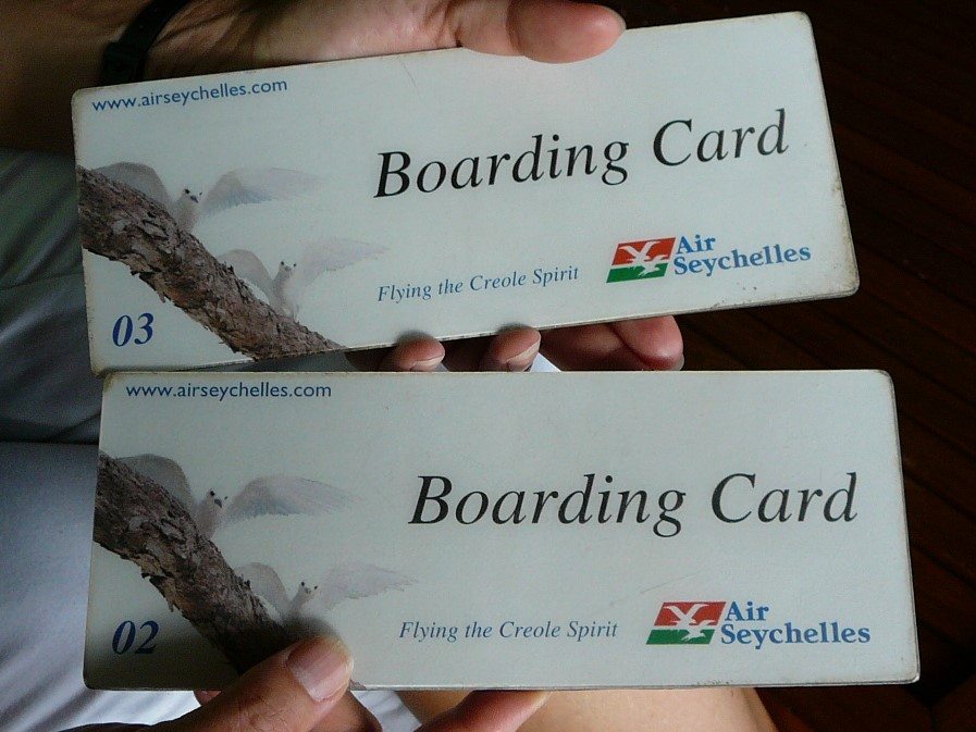 Seychelles-boarding pass-Praslin-flying