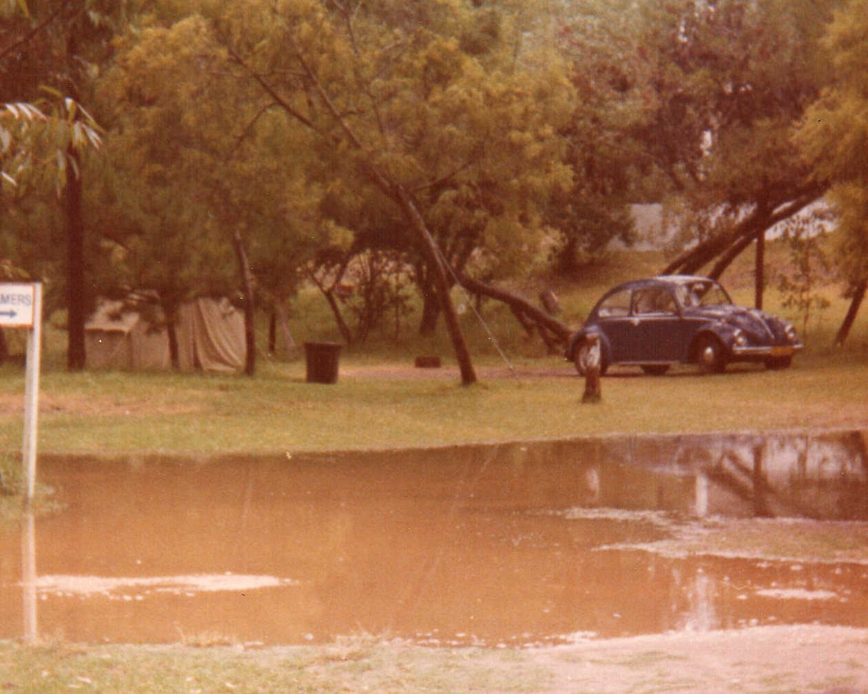Our tent, our Beetle and the rest of our dam -