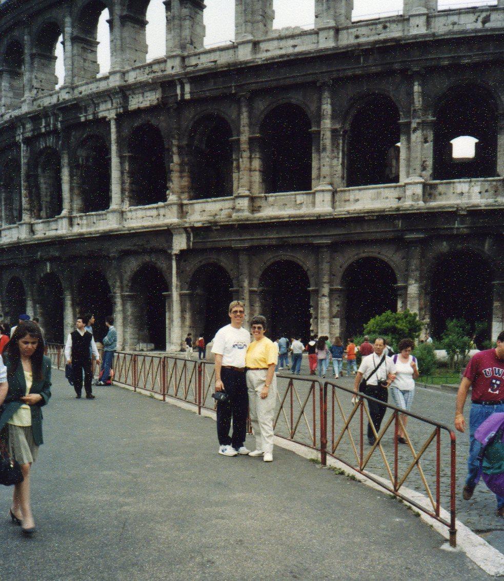 Posing outside the Colosseum -