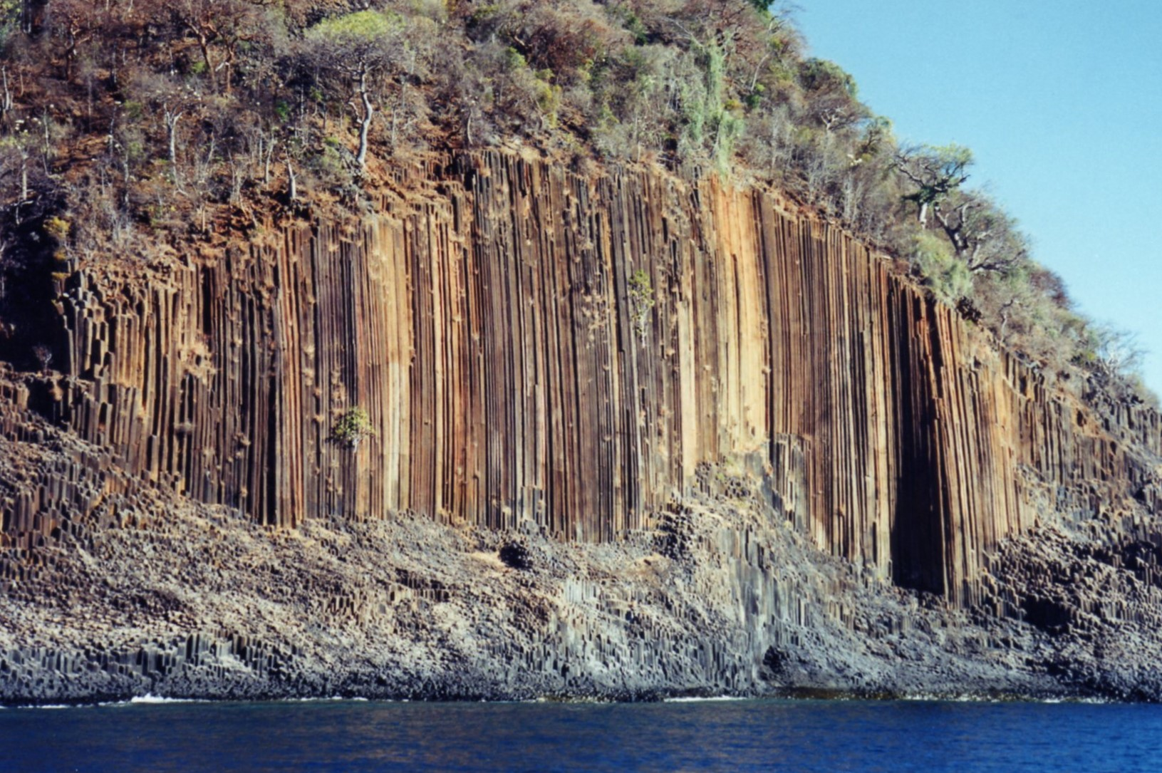 Interesting rock formations like organ pipes