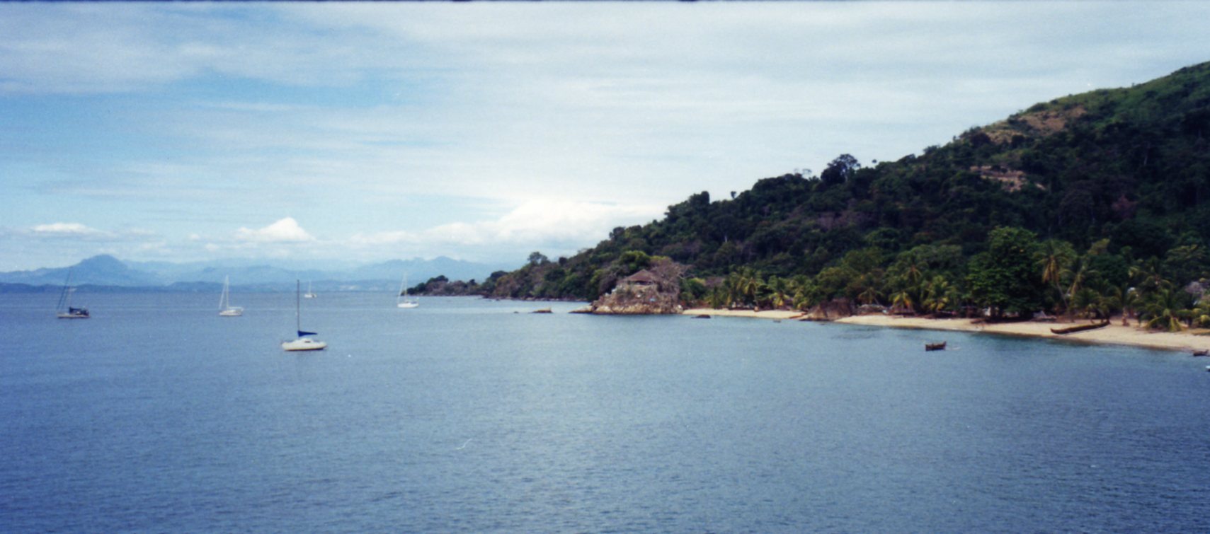 Moored in the bay at Nosy Komba
