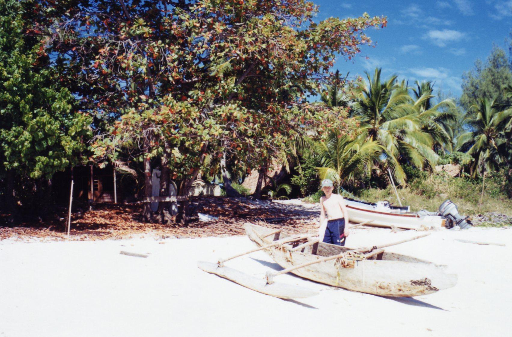 Pirogue on white sands of Nosy Tsarabanjina