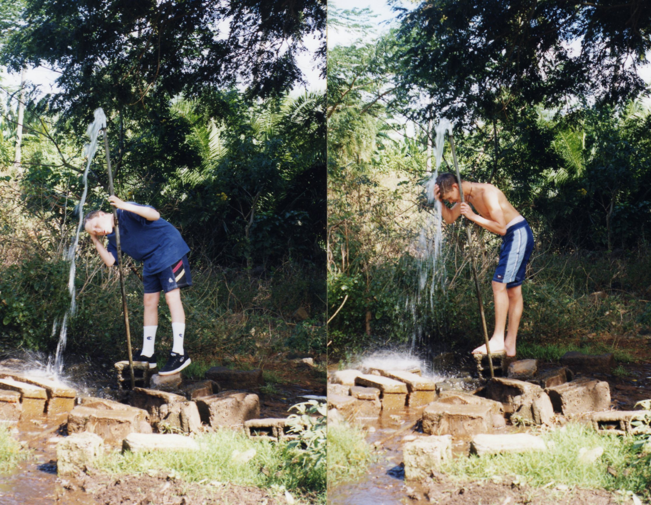 Showering in the luxury of fresh water - the water was left to run continuously
