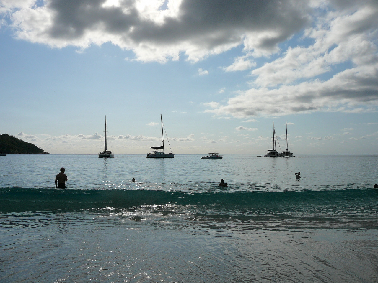 Yachts moored just off Praslin