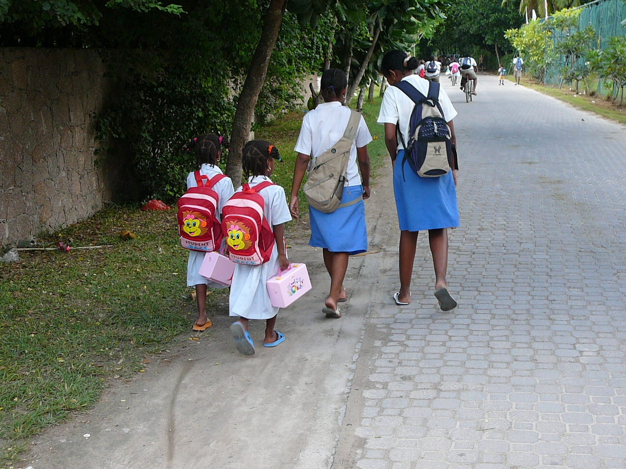 Walking home from school La Digue