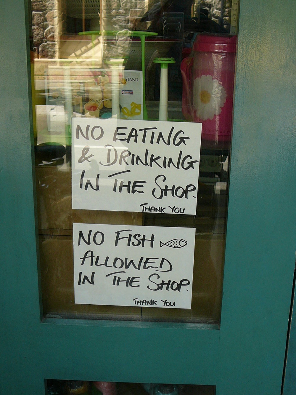 Sign in shop window