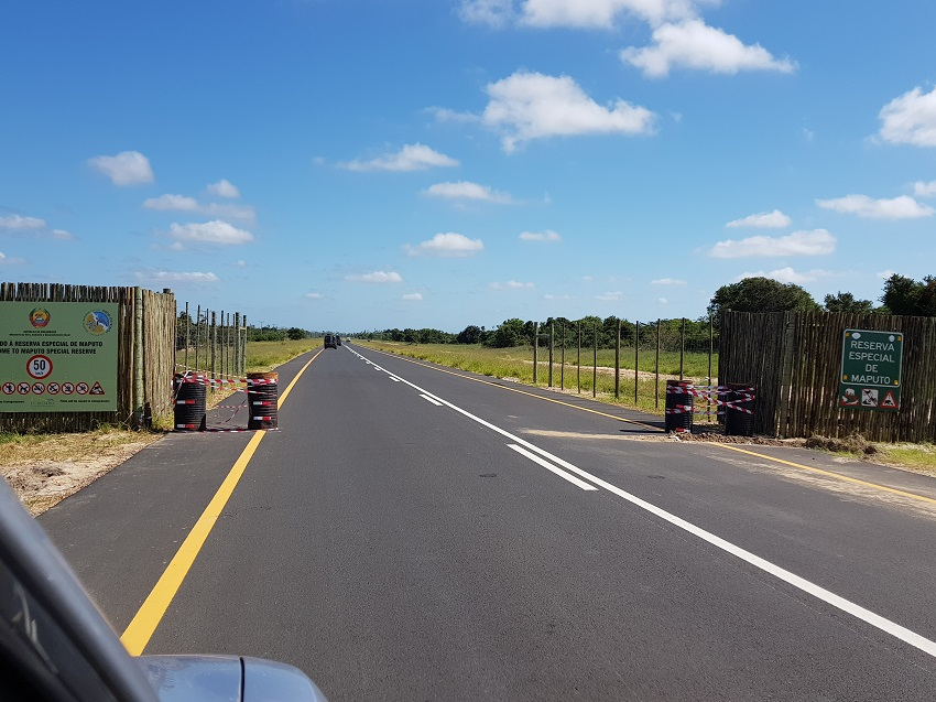 Entrance to Maputo Special Reserve on new tar road