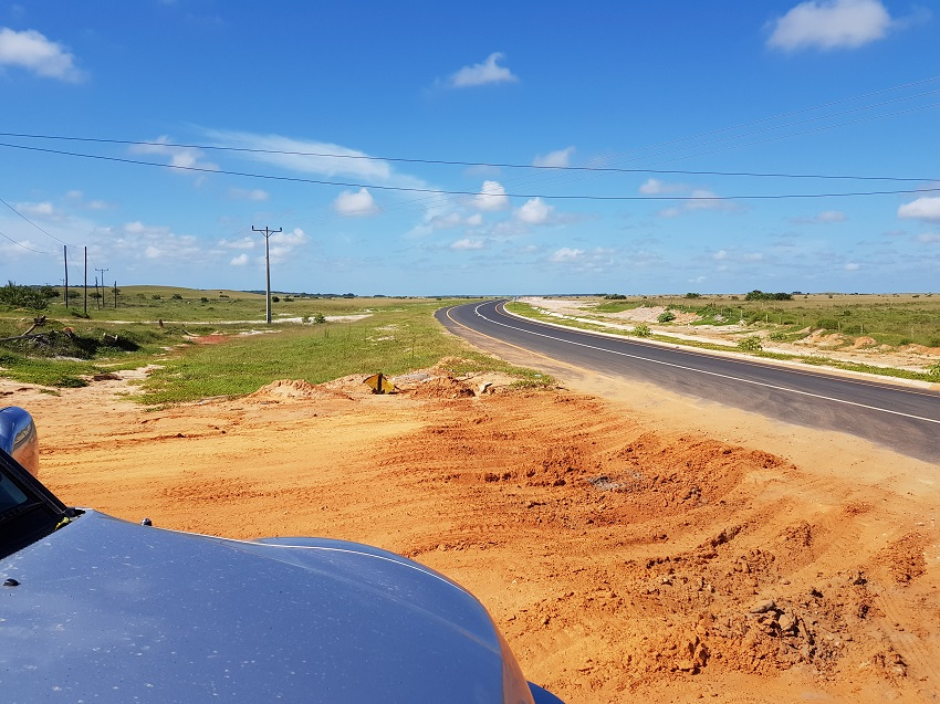 Joining the new tar road that links Maputo to Kosi bay border