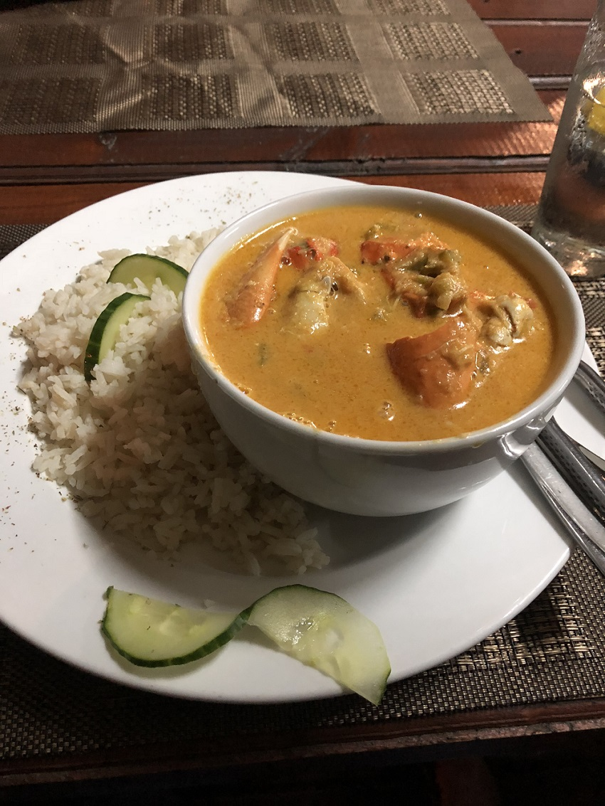 Delicious crab curry at Crabs, Ponta Malongane, Mozambique