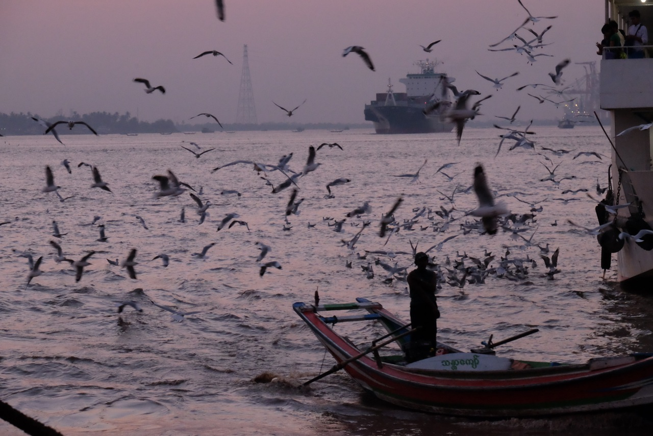 Busy harbour in Yangon, Myanmar - Gillian Mclaren