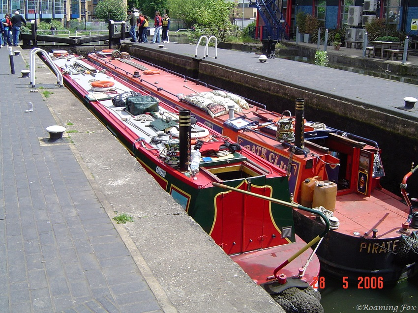 Canal boats in a lock
