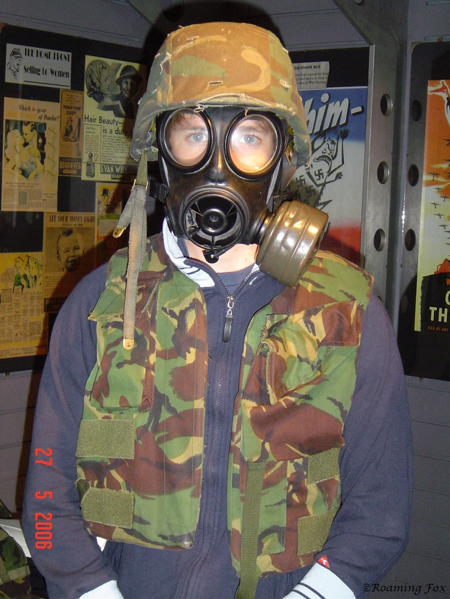Dressing up in the gear for shetering from air raids