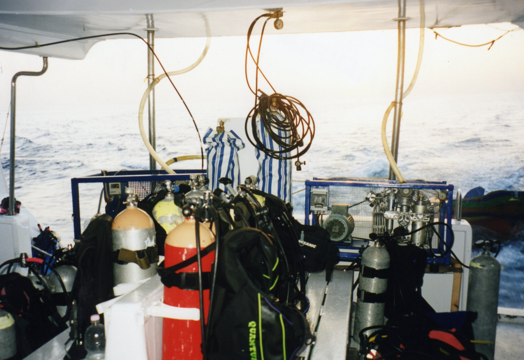 Our dive gear being stowed on board