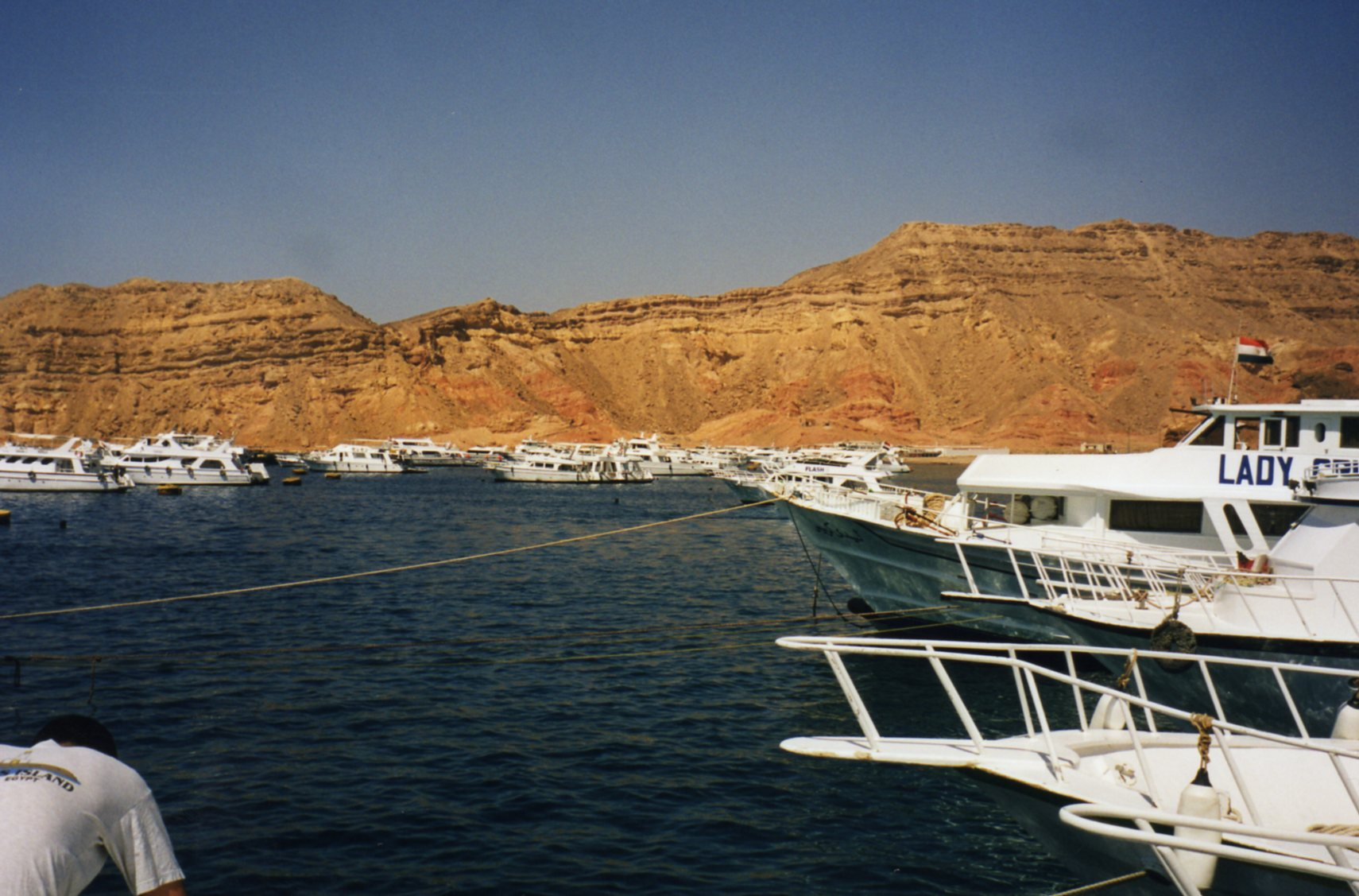 Which boat is ours? The harbour at Sharm el Sheikh