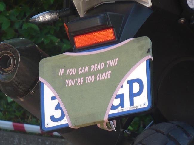 Bike Rally Magoebaskloof Interesting numberplate.JPG