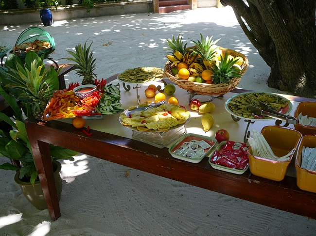 Fruit & snacks on table Maldives.JPG