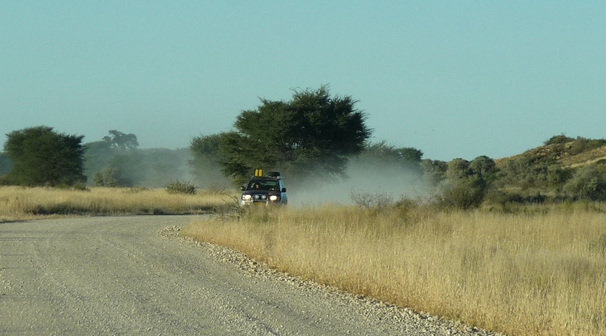 Rattling around, leaving a dust trail in the Kgalagadi Transfrontier Park
