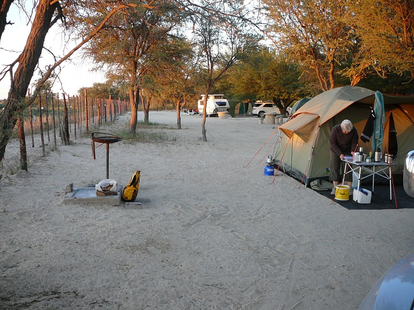 Camping next to the fence at Nossob