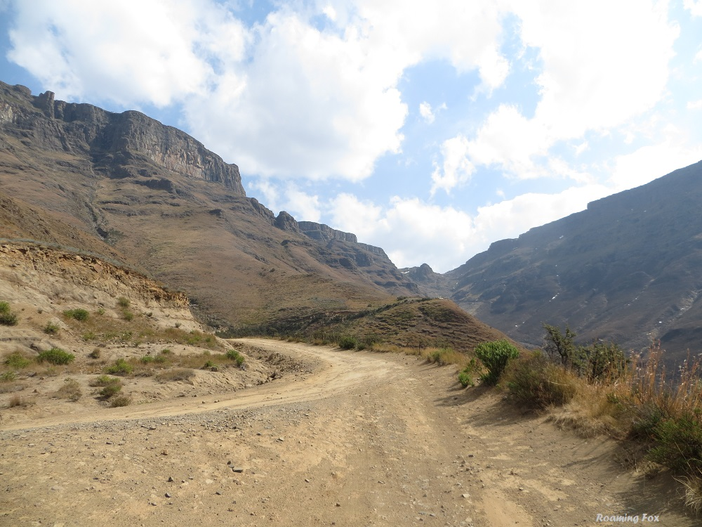 One of the few places to park and take photographs or enjoy the view of Sani Pass