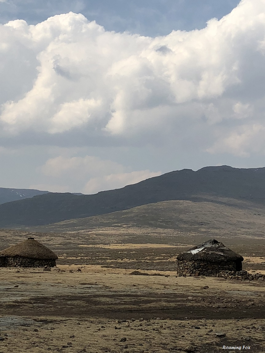 Houses built from stone for Basotho settlements on the plateau of Sani Mountains
