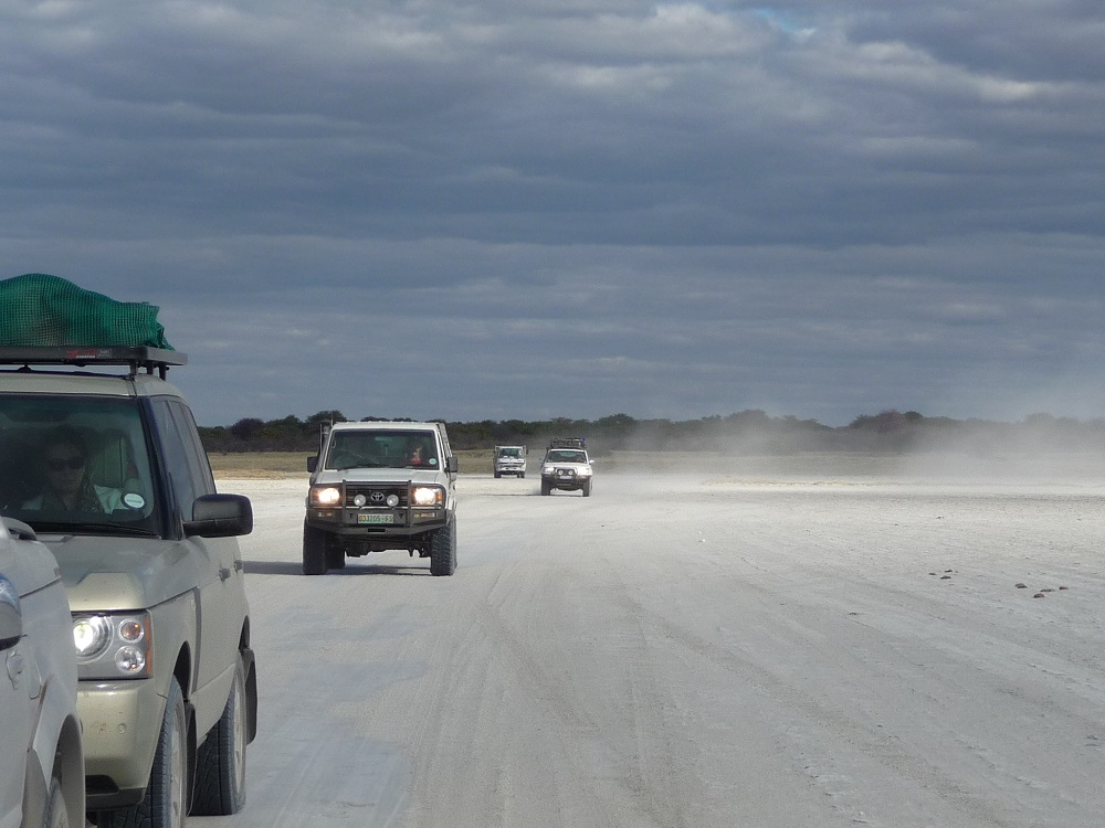 Driving on the Makgadikgadi salt pans