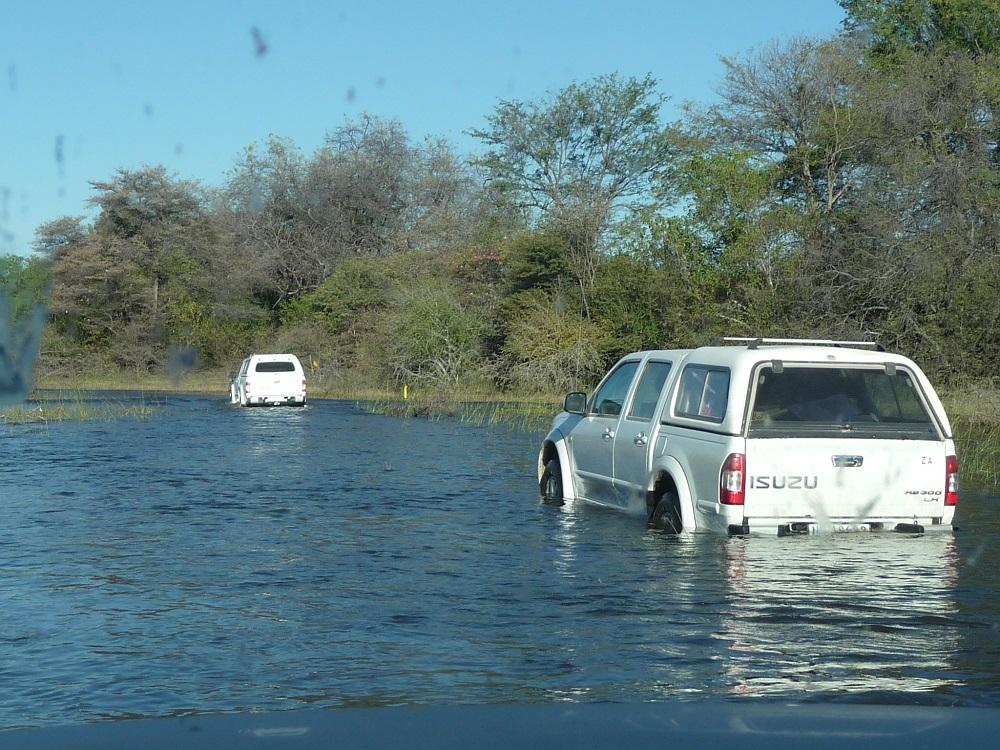 www.roaming-fox.com Okavango vehicles driving through water.JPG