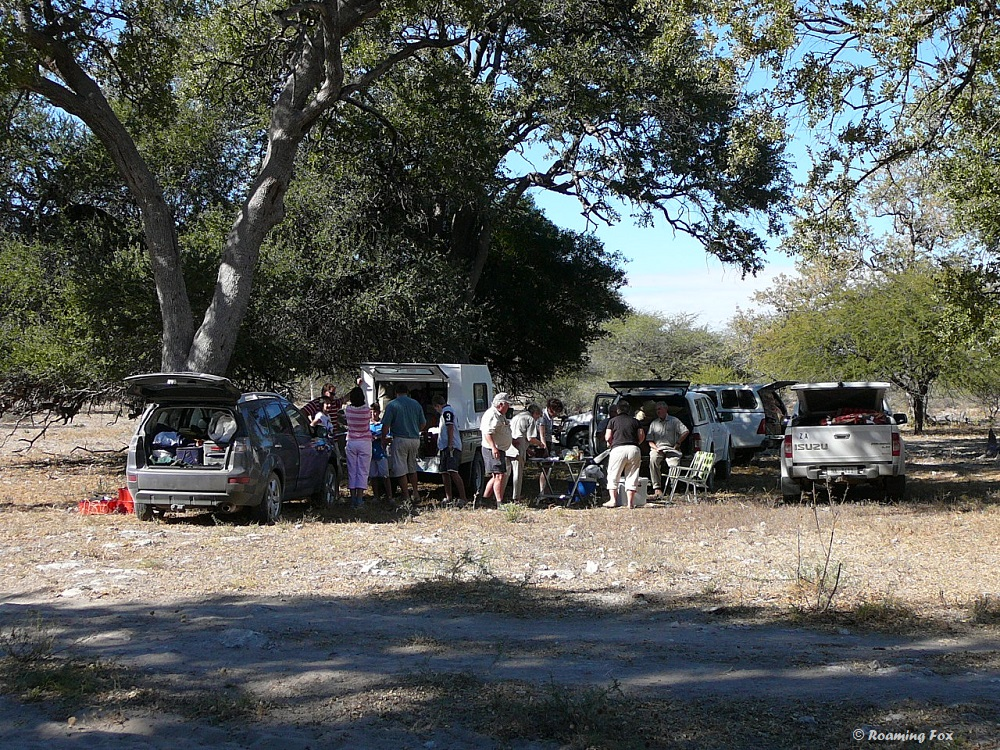Having a picnic lunch under the trees somewhere between Letlhakane and Mkgadikgadi pans near a baobab