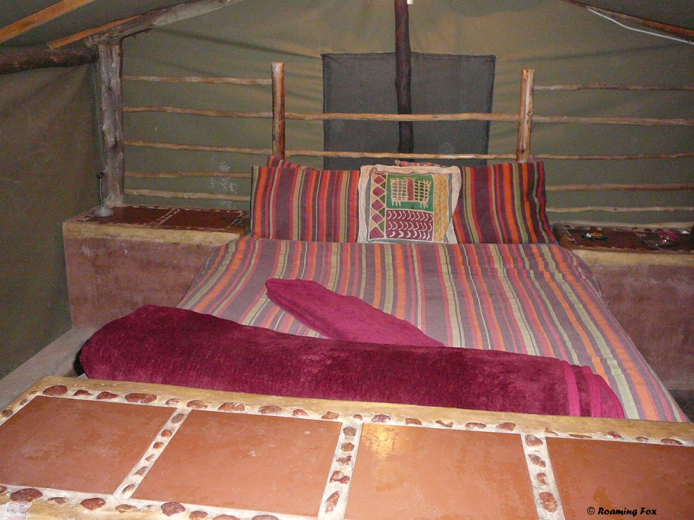 Not 5-star at Camp Itumela, Palapye but comfortable enough and warm bedding for winter