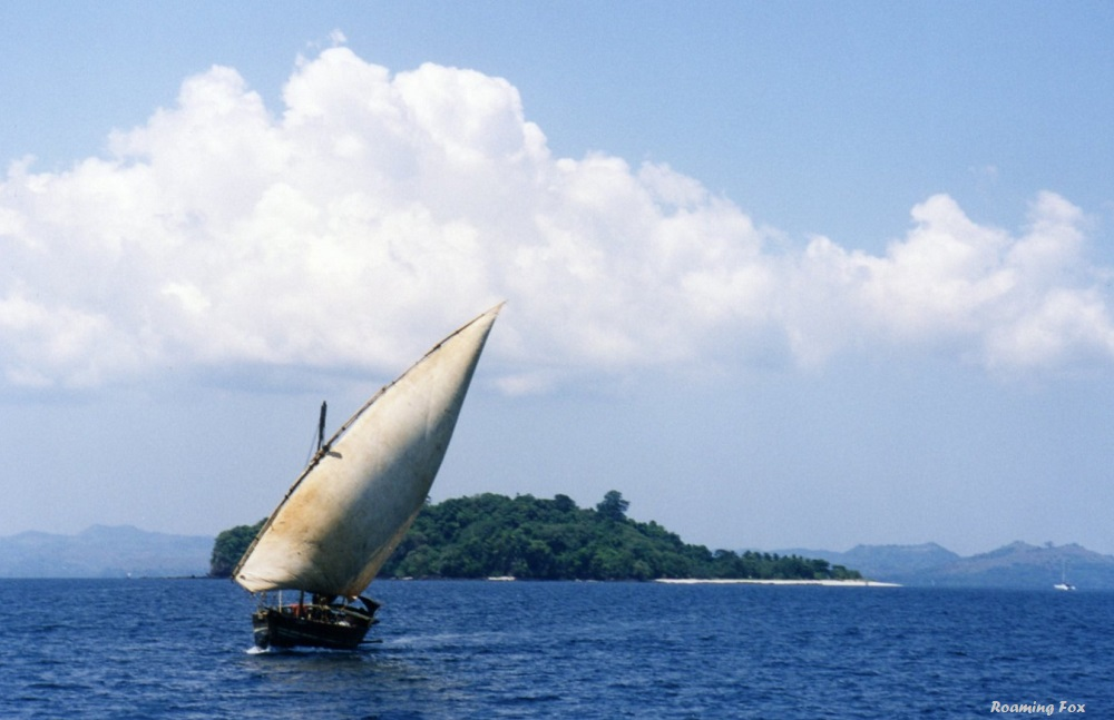 Dhow sailing from island to island in Madagascar