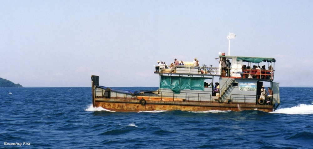 We called this boat the rust bucket, a ferry transporting people to mainland