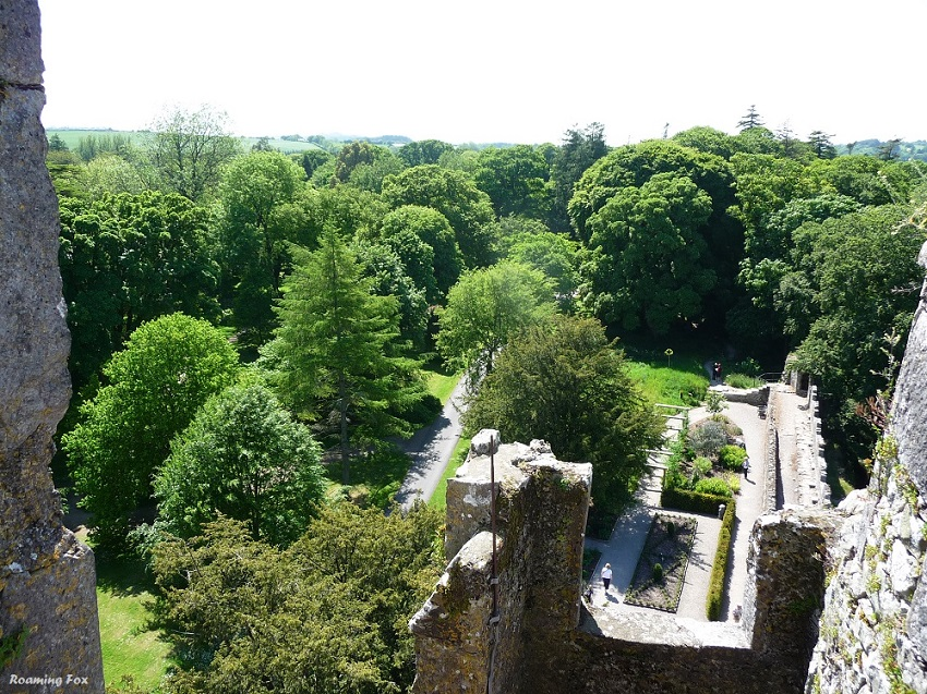 Gardens from top of Blarney castle.JPG
