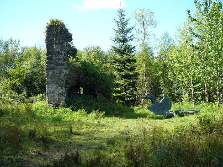 RF Ruins and dragon sculpture Ireland