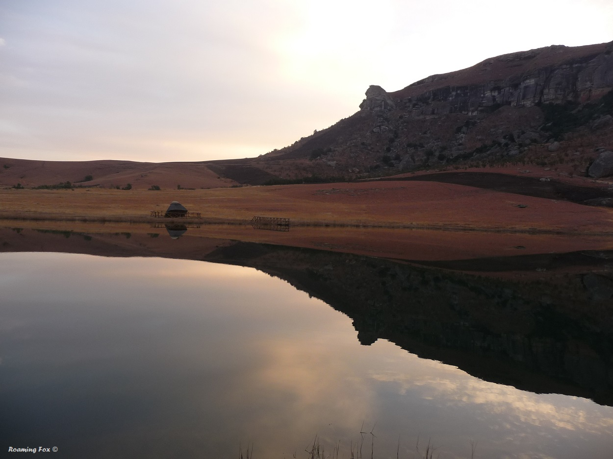 Reflections like a mirror in the trout dam at Seletwane