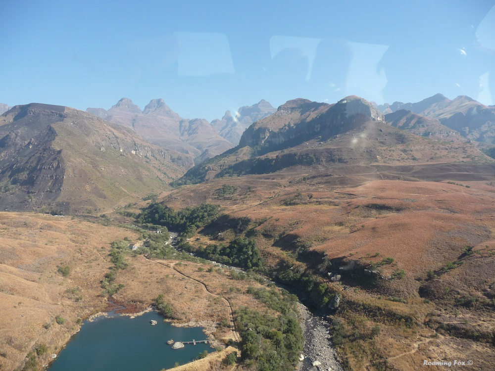 View from the helicopter after taking off at Cathedral Peak