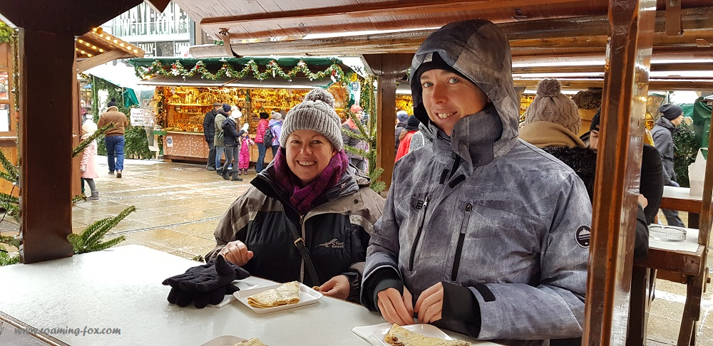 Eating crepes at Marienplatz in Munich at a food stall