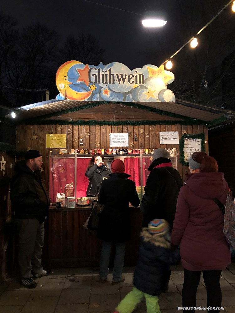 Various different Gluhwein stands at Christmas Markets in Munich Germany