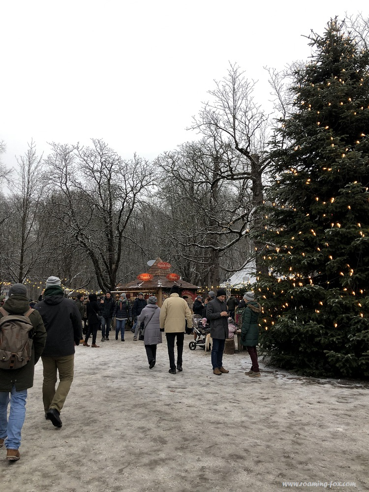 Christmas Market at the Chinese tower in the English Garden in Munich, Bavaria