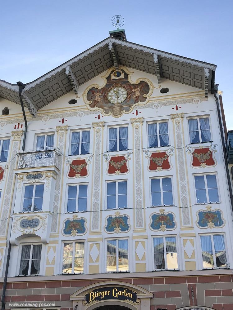 Beautiful facade of a building in Bad Tölz, Bavaria