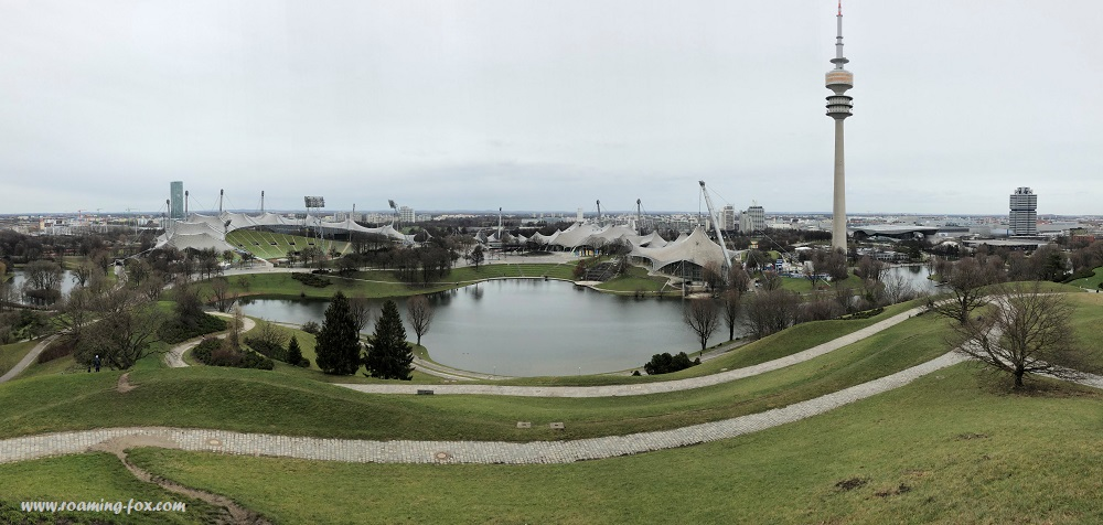 A beautiful panoramic view from a hill of Olympia Park in Munich