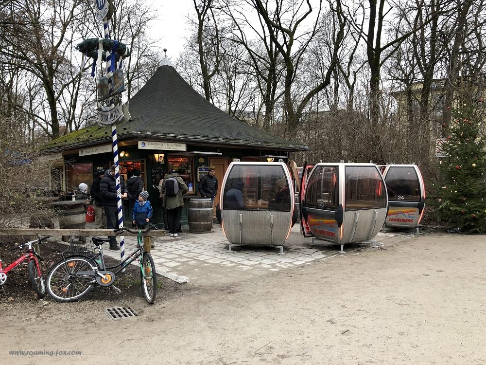 A nifty idea to have a warm place to sit, in ski lift gondolas in the Englischer Garten, Munich