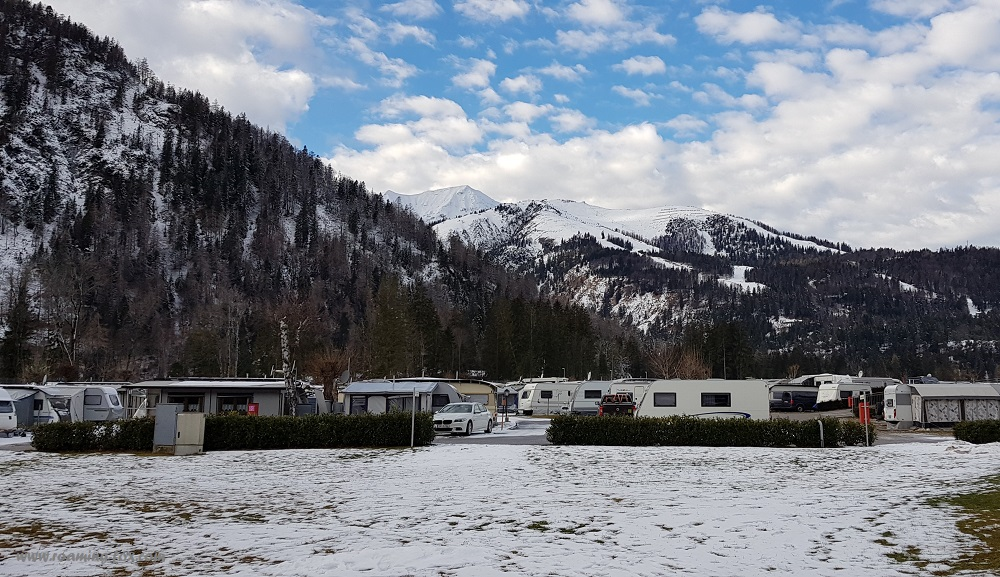 Campervans and caravans in the valley at Achenkirch, Achensee