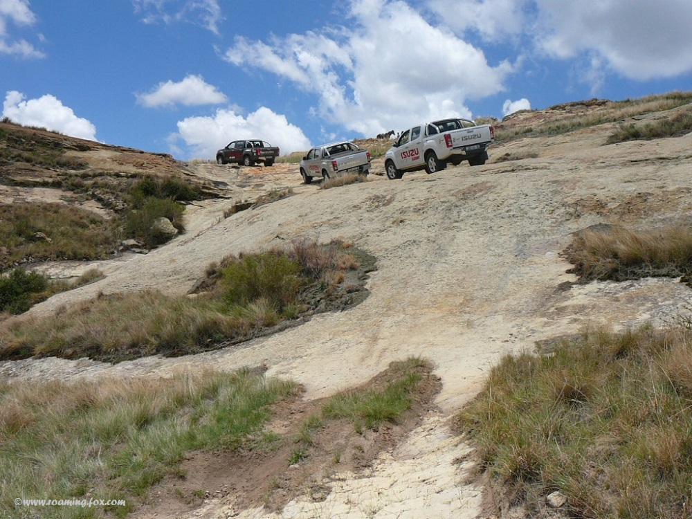 Climbing those steep hills on the off-road track