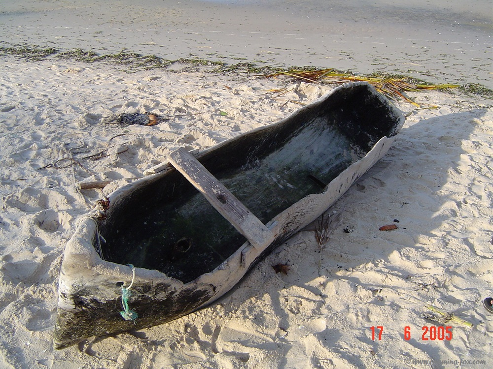 Hand made pirogue or dug out canoe
